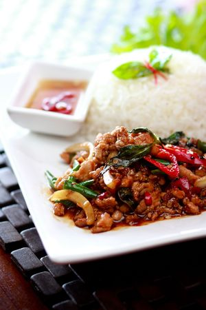 Thai food rice and basil. Stock Photo - 6855392