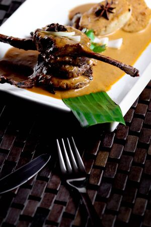 crusted: Crusted lamb chop thai style. Stock Photo