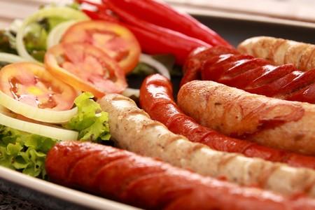 vegtables: Sausages and vegtables.