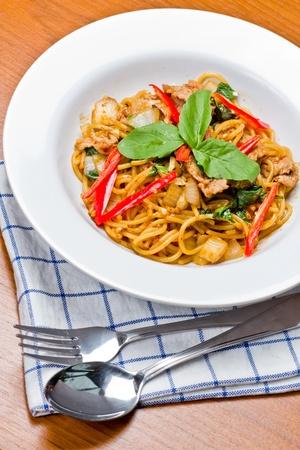 Pasta Spaghetti spicy Thai style. photo