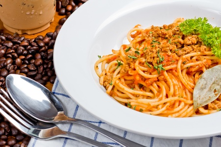 Pasta and coffee. photo