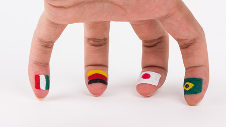 Finger with flag print photo
