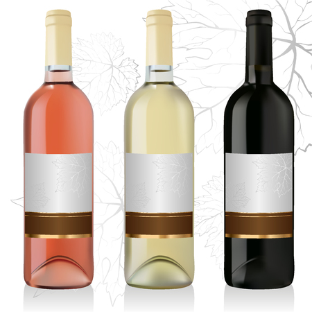 sauvignon: Set of white, rose, and red wine bottles with labels isolated on white background Illustration