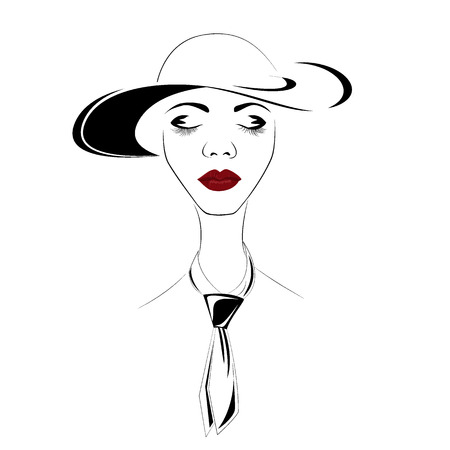 Fashion woman in hat portrait of young stylish girl face isolated on white background