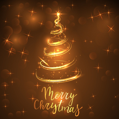 glittering golden  tree and the inscription Merry Christmas on a shiny background