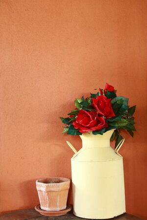 Vase of red flowers photo