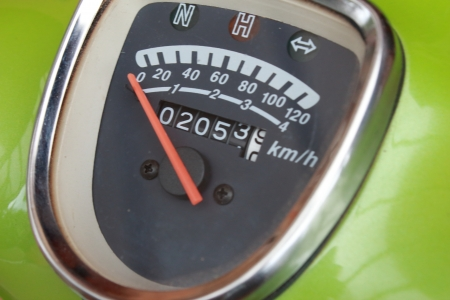 Speedometer on a bright green background  photo