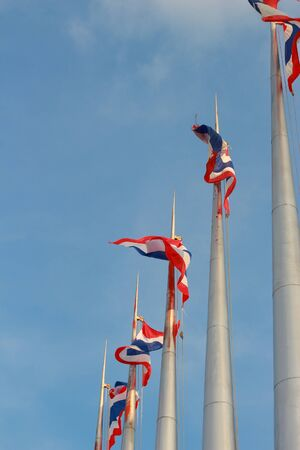 Thailand flag blowing in the sky more beautiful Stock Photo - 16010711