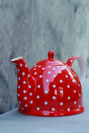 Ceramic kettle red  photo