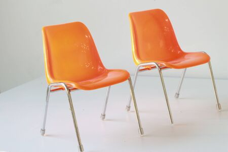The orange  two chair  Stock Photo