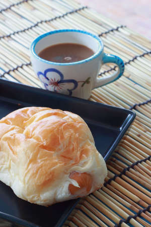 pasty: Black bread with sausage, hot coffee