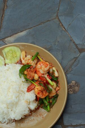 Basil fried rice, shrimp, spicy taste, Thailand photo