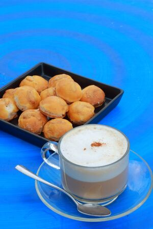 Cashew Cookies with hot coffee photo
