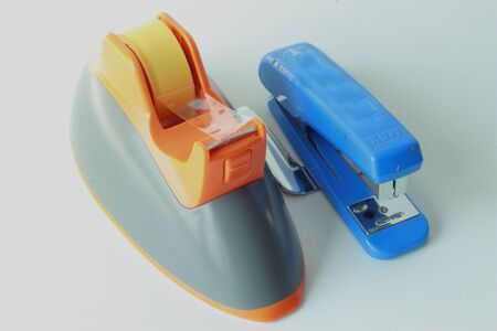 staplers: Clear adhesive tape The stapler  Stock Photo