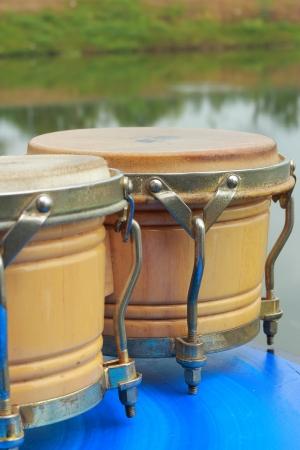 bongos: Bongo drums blue background