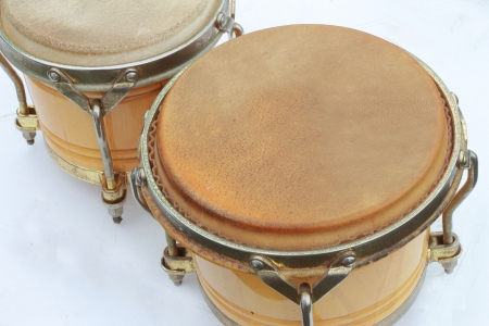 bongos: Bongo drums on a white background  Stock Photo