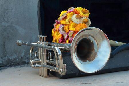 memorabilia: Silver Trumpet with paper flowers