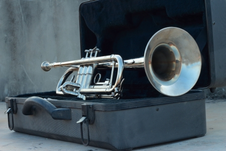 Silver trumpet in the black box  Stock Photo - 16741172