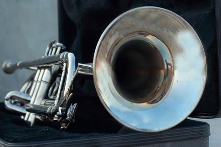 Silver trumpet in the black box