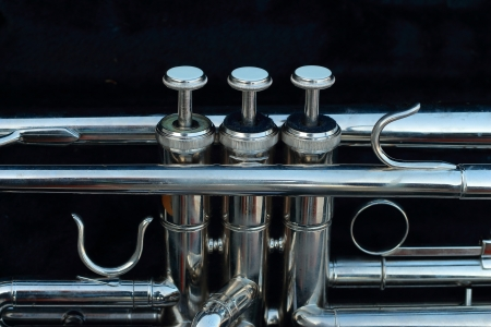 Silver trumpet in the black box  Stock Photo - 16741213