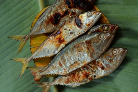 Mackerel on banana leaf  photo