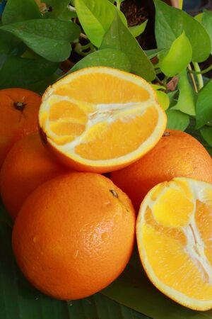 Orange on a banana leaf  Stock Photo - 17184637