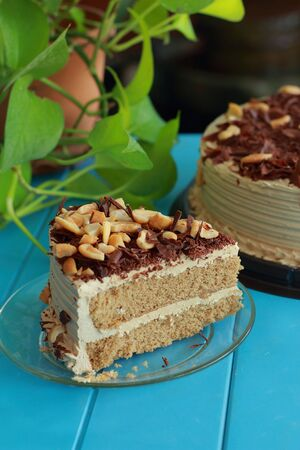 Coffee cake topped with cashew nuts  Stock Photo