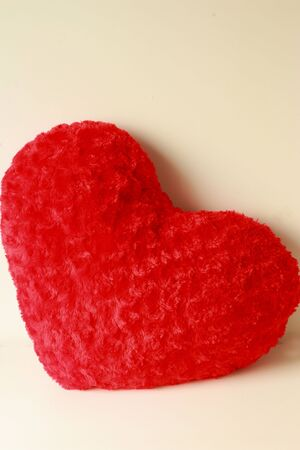 Red heart pillow  photo