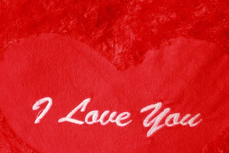 I Love You embroidered red background  photo