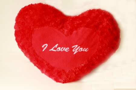 Red heart pillow embroidered I Love you  photo
