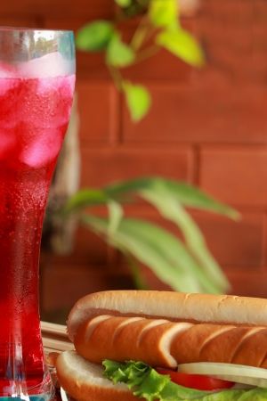 Hot dog and beverages red  photo