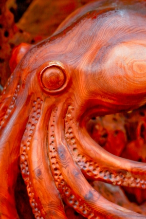Wood carving background - Tentacles  photo