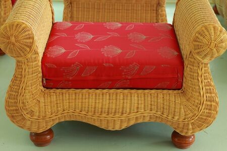 Wicker chair seat red  photo