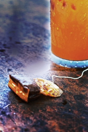 Tea bag on the table. photo