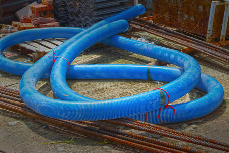 PVC pipes are blue - background photo