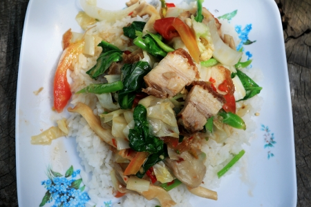 Crispy roasted pork stir fry with vegetables and rice  photo