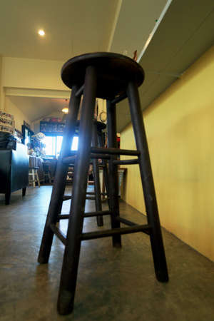 Vintage wooden chair in the coffee shop. photo