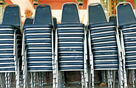Blue chairs stacked Stock Photo - 24671117