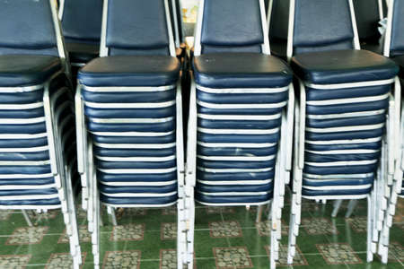 Blue chairs stacked Stock Photo - 24671134