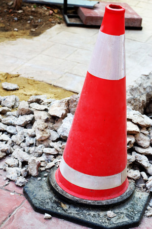 Traffic cones on the damaged roads