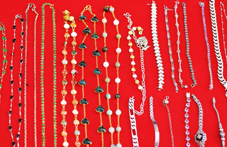 Gold and silver jewelry at the market photo