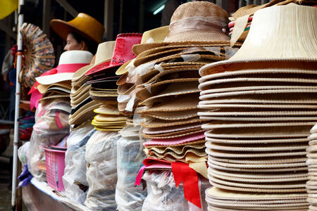 Hats for sale at Damnoen Saduak Floating Market - Thailand  photo