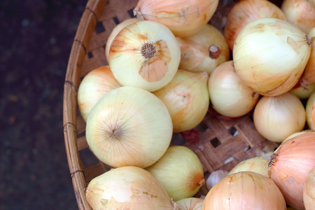 fresh onions in the market 写真素材