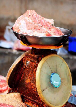 kilo: fresh raw pork scales kilo at the market. Stock Photo