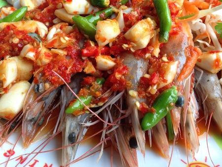 traditinal: Spicy salad and shrimp - Asia food Stock Photo