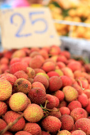 A lot of lychee in the market photo