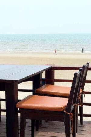 Table at beach  - vintage style photo