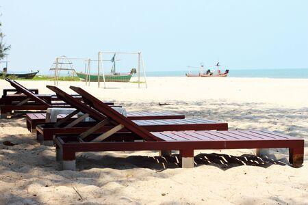 reclining chair: Reclining chair at the sea beach.