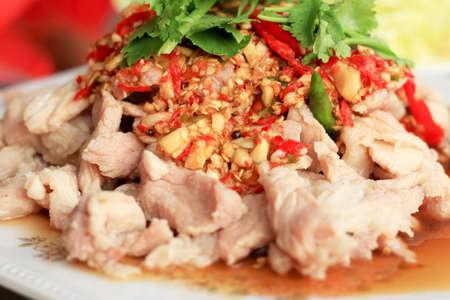 Spicy salad pork- asia food 写真素材