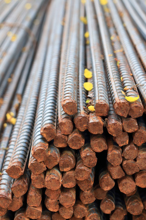Stack of steel reinforcement rods for construction Stock Photo